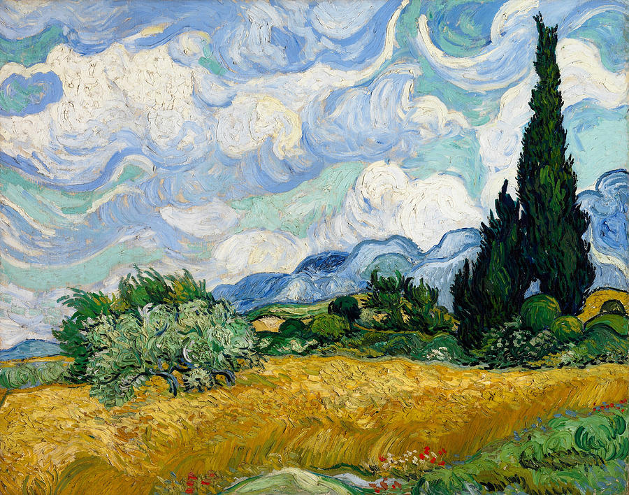 Van Gogh Painting - Wheat Field with Cypresses by Vincent van Gogh