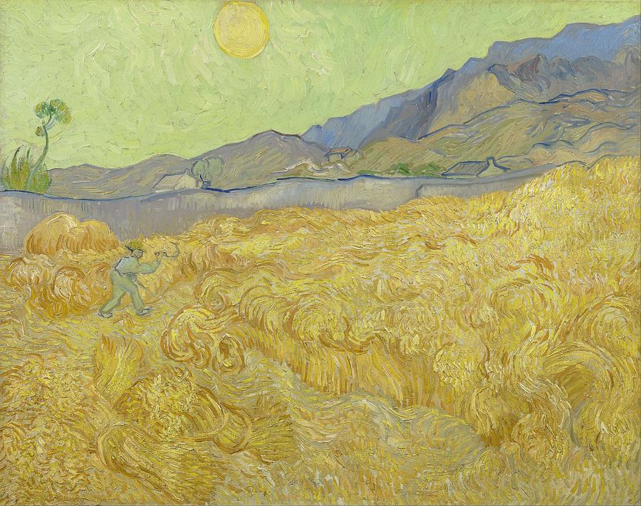 Nature Painting - Wheat Field With Reaper At Wheat Fields Van Gogh Series, By Vincent Van Gogh by Artistic Panda