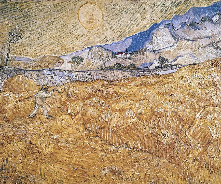 Nature Painting - Wheat Field With Reaper Harvest In Provence by Artistic Panda