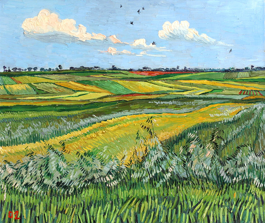 Wheat Painting - Wheat Fields And Clouds by Vitali Komarov