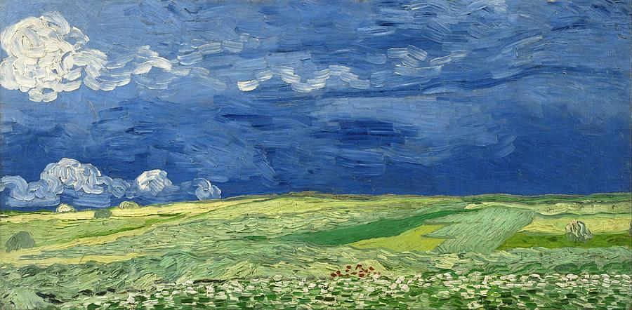 Nature Painting - Wheatfield Under Thunderclouds At Wheat Fields Van Gogh Series, By Vincent Van Gogh by Artistic Panda