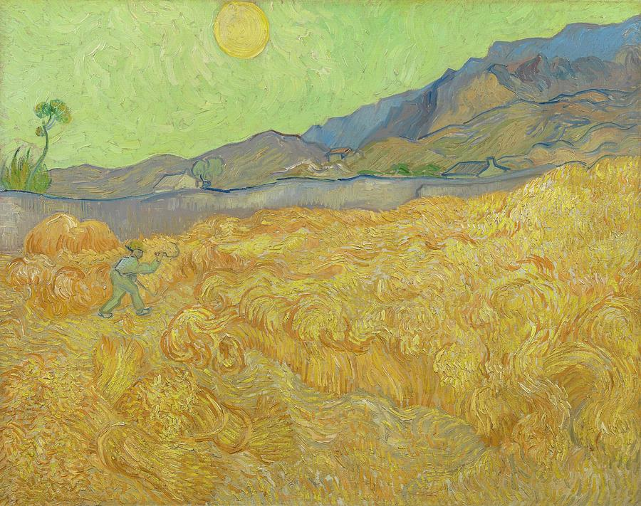 Nature Painting - Wheatfield With A Reaper Saint-remy-de-provence, September 1889 Vincent Van Gogh 1853 - 1890 by Vincent van Gogh