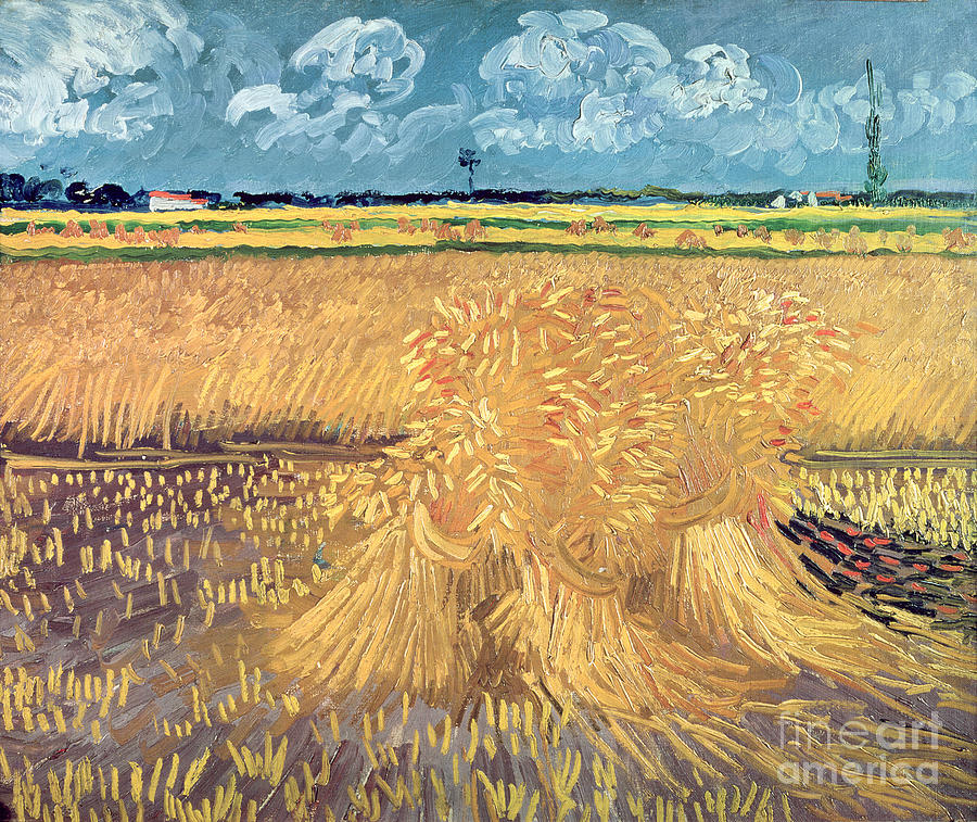 Wheatfield Painting - Wheatfield with Sheaves by Vincent van Gogh
