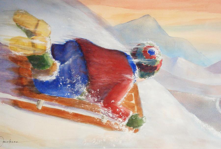 Sled Painting - Wheee by Marilyn Jacobson