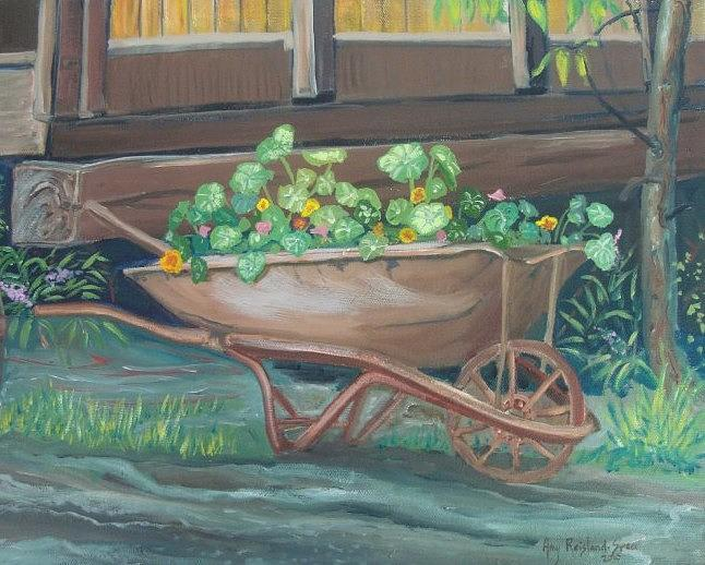 Wheel Barrow Painting - Wheel Barrow Planter by Amy Reisland-Speer