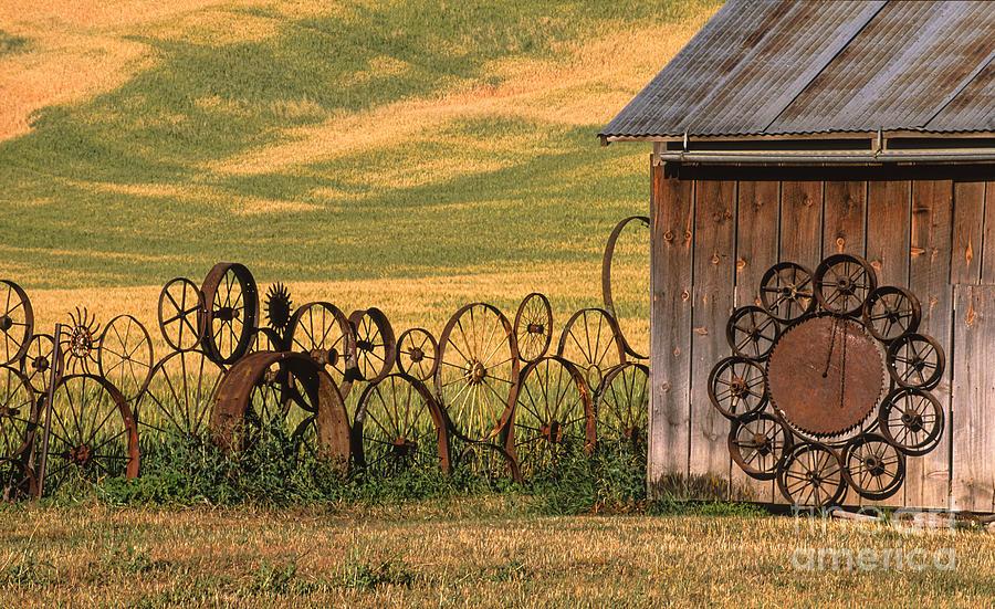 Washington Photograph - Wheels Of The Palouse by Sandra Bronstein