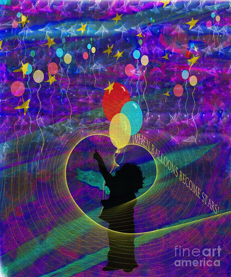 Balloon Digital Art - When Balloons Become Stars by Sydne Archambault