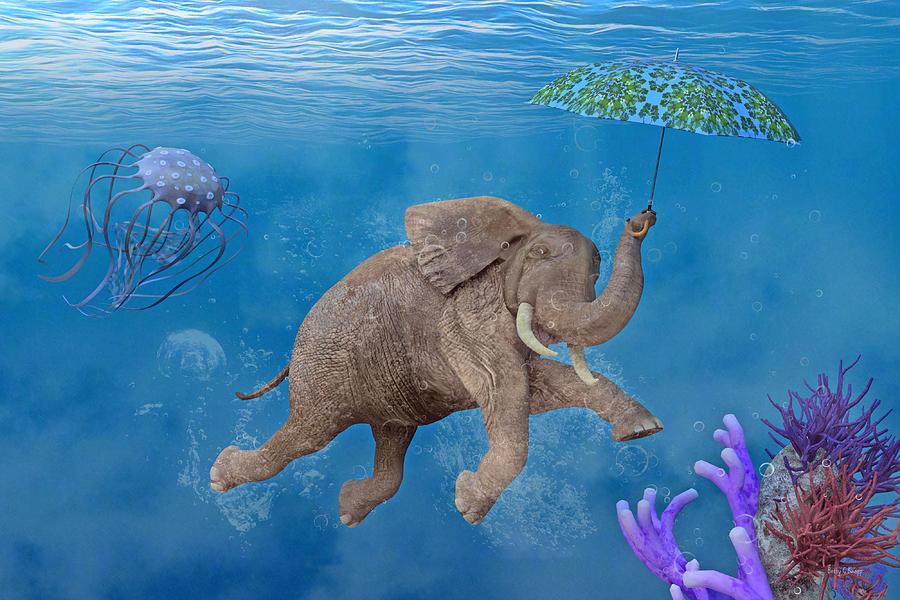 When Elephants Swim Digital Art