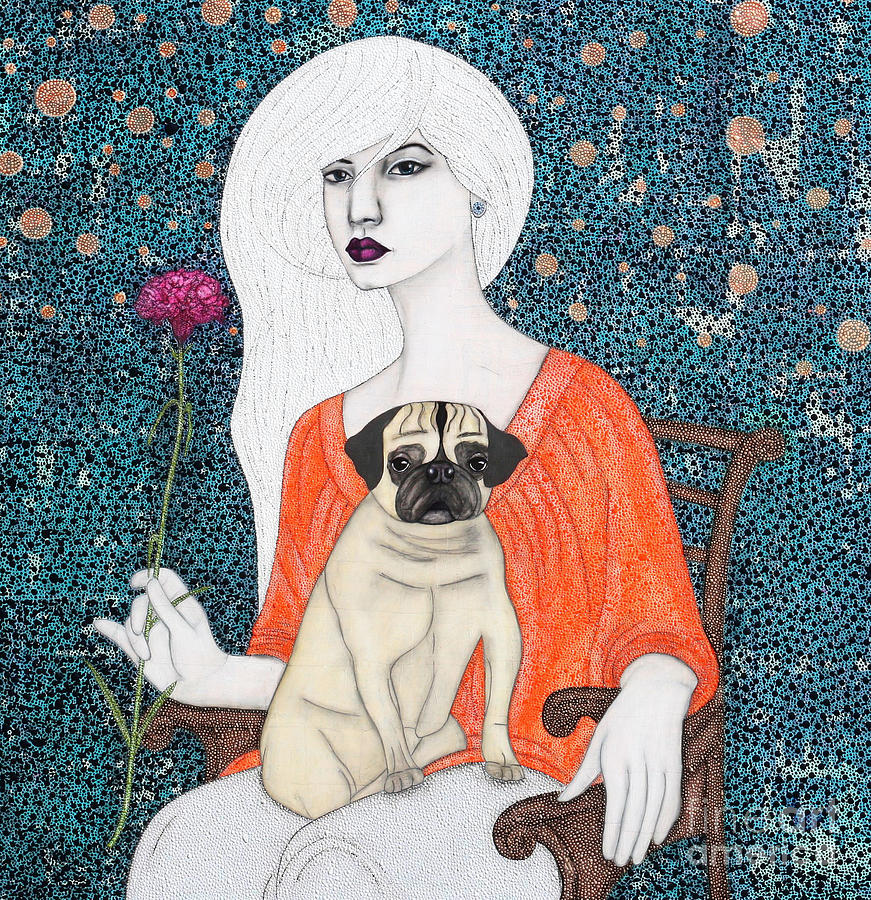 Pug Painting - When I Call by Natalie Briney