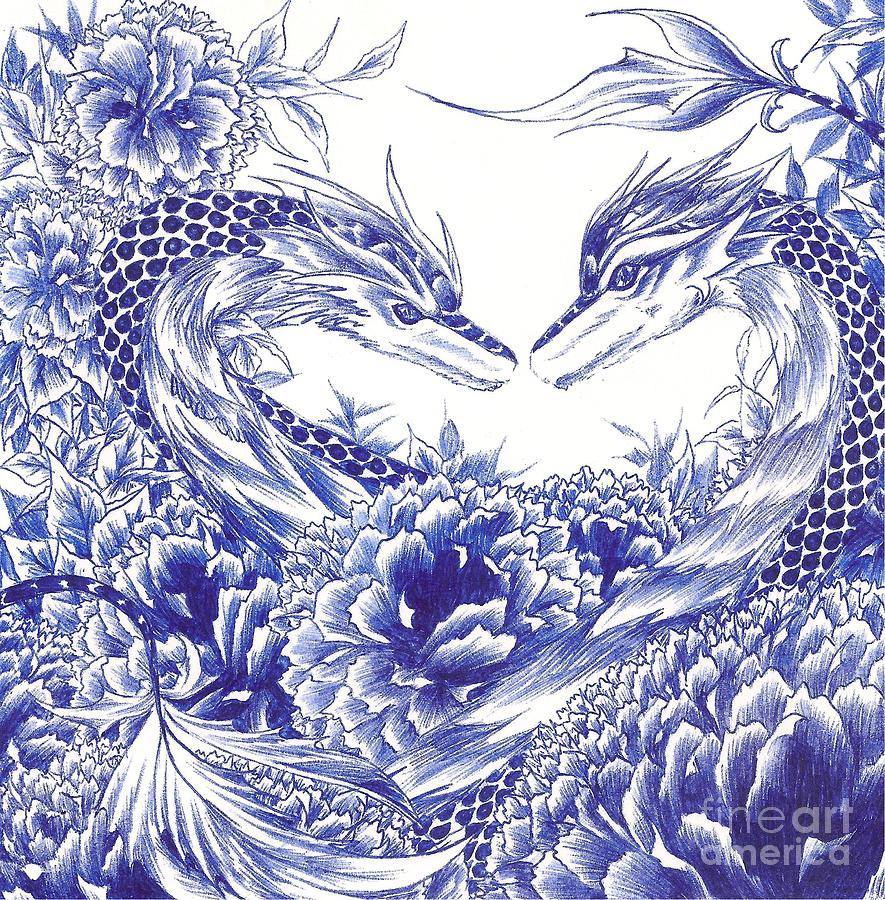 Dragon Drawing - When Our Eyes Meet by Alice Chen