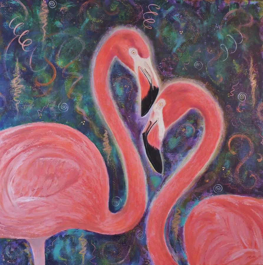 Flamingos Painting - When SomeBirdie Loves Me by Margaret Bobb