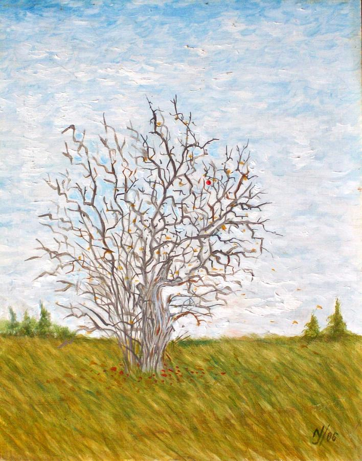 Tree Painting - When The Apples Are Gone by Norman F Jackson