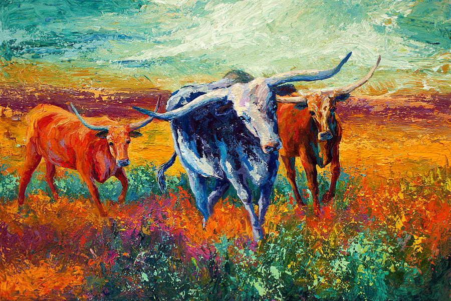 Long Horns Painting - When The Cows Come Home by Marion Rose