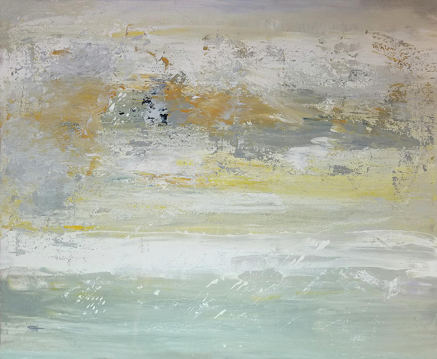 Soft Colors Abstract Painting - When The Fog Breaks by Maura Satchell