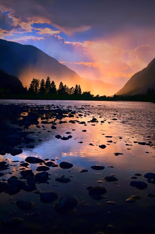 Rocks Photograph - When The Rain Falls And The Sun Sets by Tara Turner