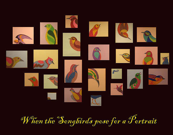 Birds Painting - When The Songbirds Pose For A Portrait by Pablo Hernandez