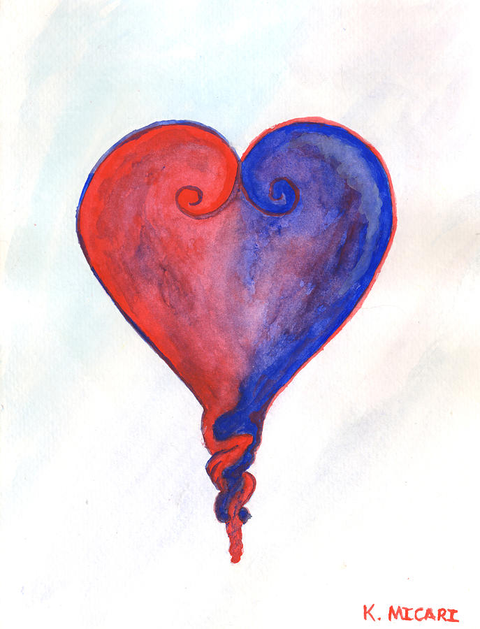 Gouache Painting - When Two Hearts Become One by Kat Micari