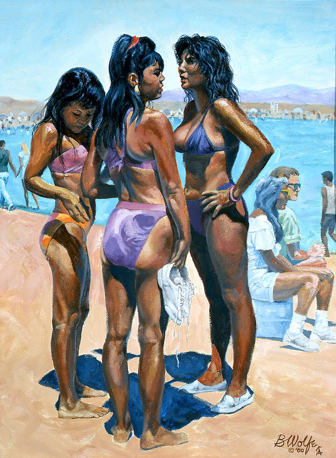Bikini Painting - Where Are The Boys by Bassel Wolfe