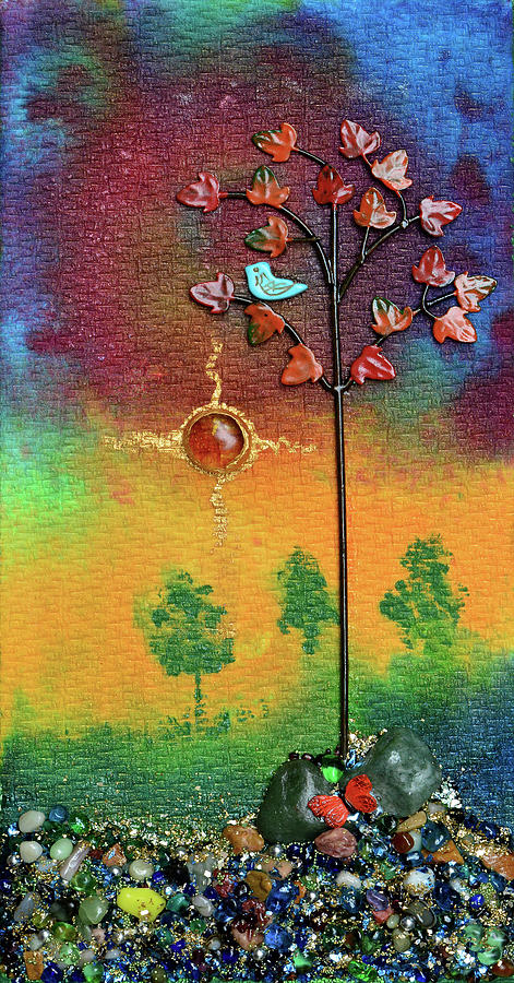 Abstract Landscape Mixed Media - Where Fireflies Gather by Donna Blackhall