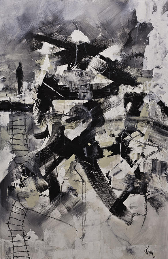 Where I Am Original Black And White Abstract Acrylic Painting On Canvas