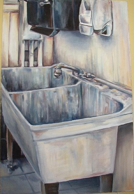 Still Life Painting - Where I Wash My Brushes by Elisa Davis