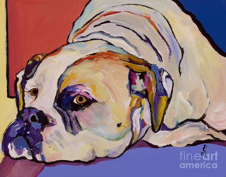 American Bulldog Painting - Where Is My Dinner by Pat Saunders-White