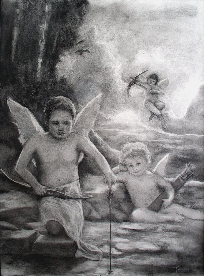 Angels Drawing - Where Is The Love by Sue Tesin