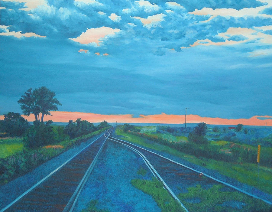 Railroad Tracks Painting - Where Little Boys Play by Blaine Filthaut