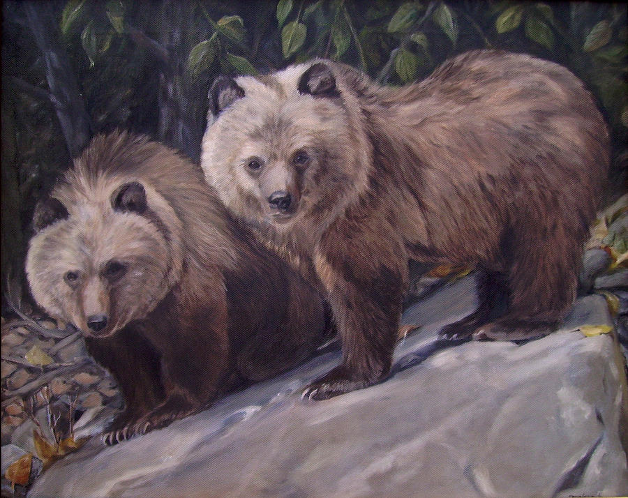 Grizzly Cubs Painting - Where S Momma by Tahirih Goffic