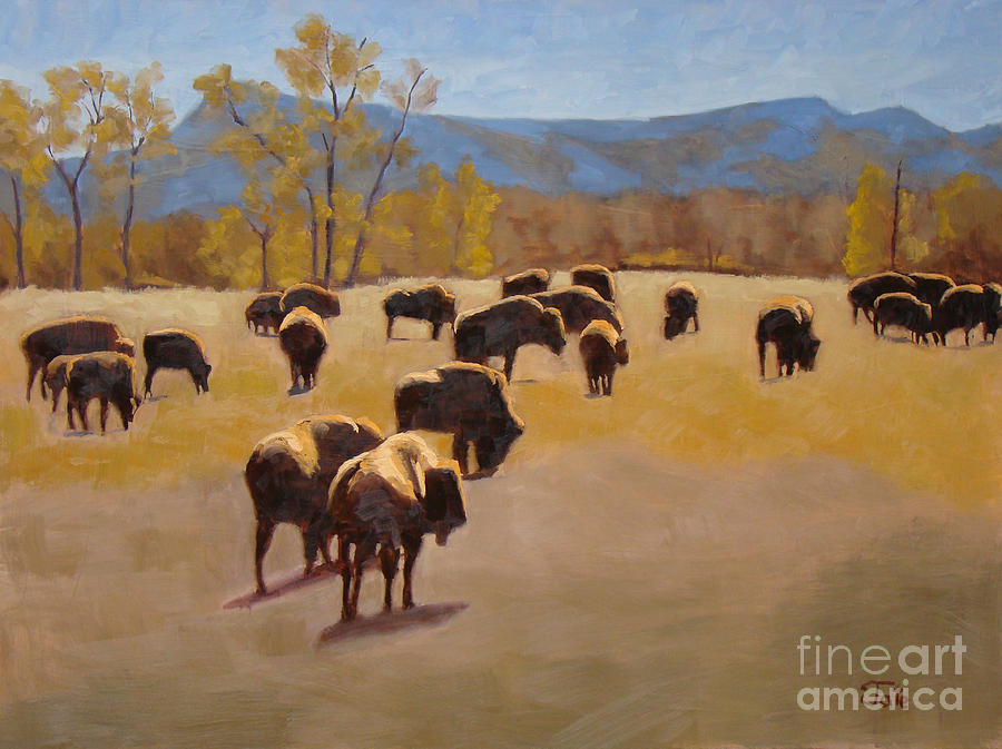 Buffalo Painting - Where the buffalo roam by Tate Hamilton