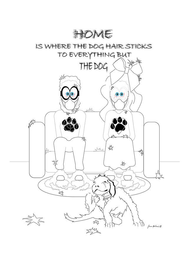 Greeting Card Drawing - Where The Dog Hair Sticks by James Mulvania