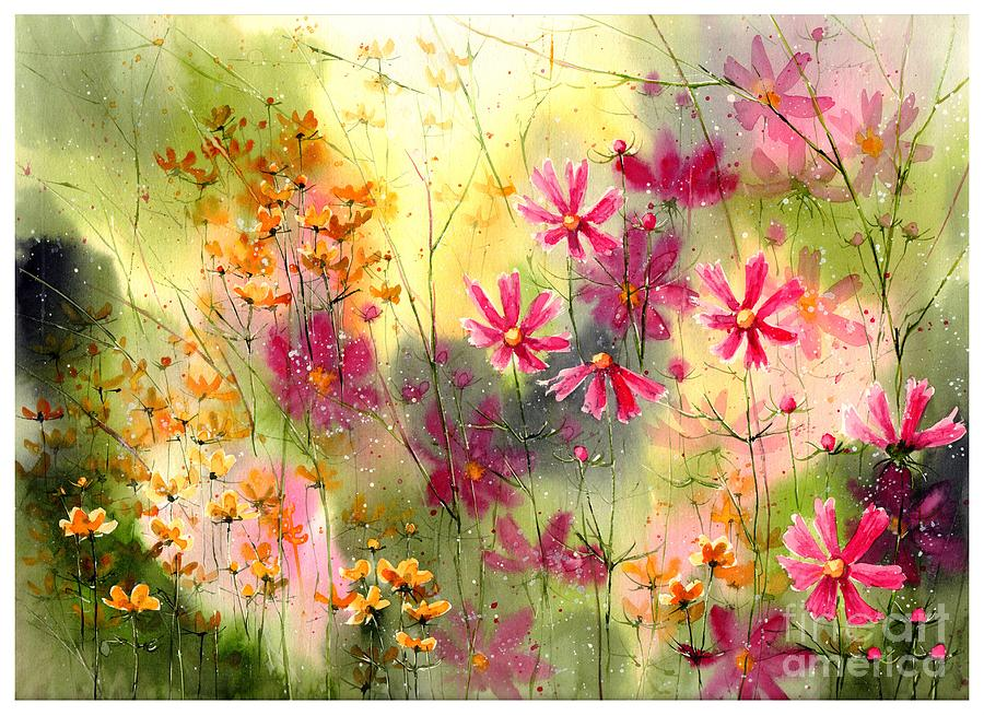 Pink Painting - Where The Pink Flowers Grow by Suzann Sines