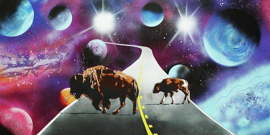 Space Paintings Mixed Media - Where The Space Buffalo Roam II by Surj LA