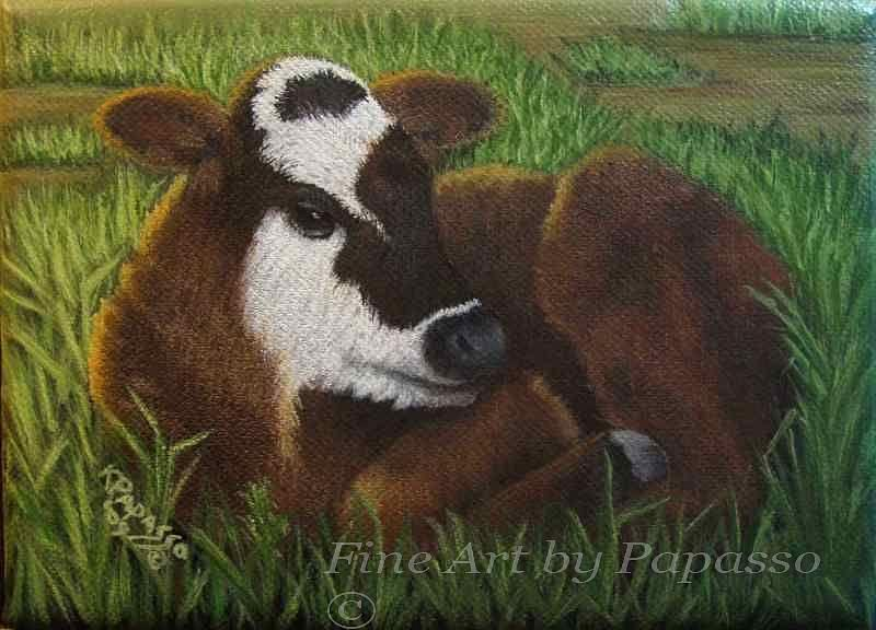 Calf Painting - Wheres Mama by Kathie Papasso