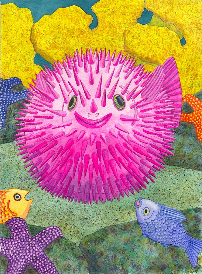 Puffer Fish Painting - Wheres Pinkfish by Catherine G McElroy