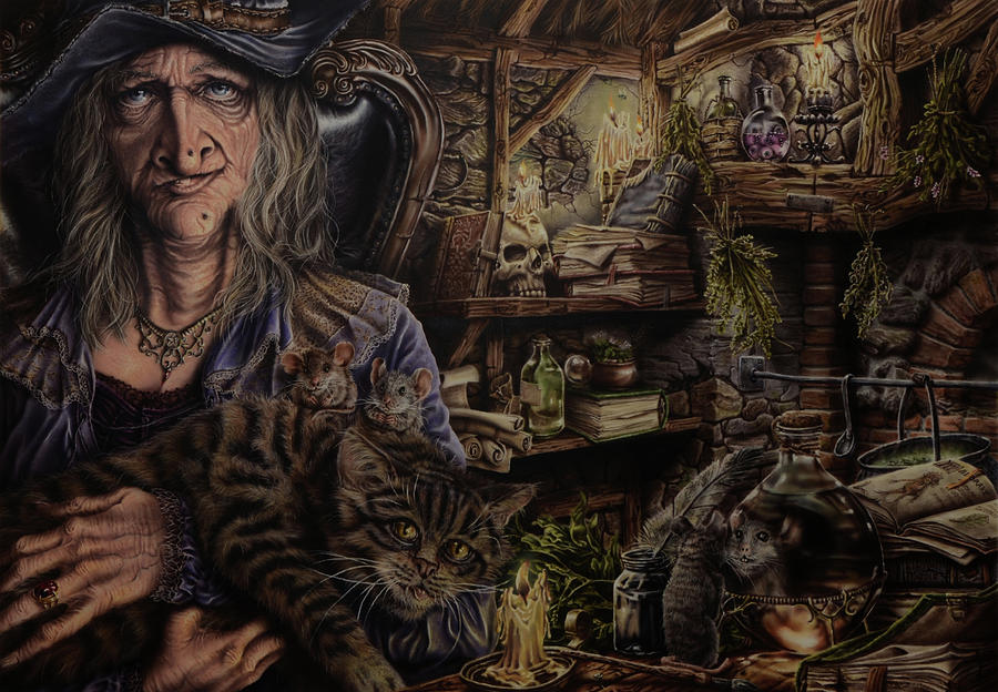 Fantasy Painting - Which witch is which by Robert Haasdijk