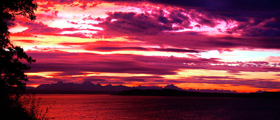 Sunrise Panorama Photograph - Whidbey Red Sky Morning by Mary Gaines