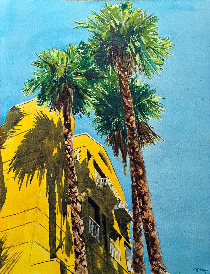 Yellow Painting - While in Korea Town by Monika Arturi