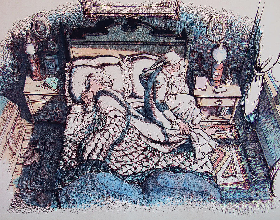 The Night Before Christmas Drawing - While Ma In Her Kerchief And I In My Cap by Don Locke
