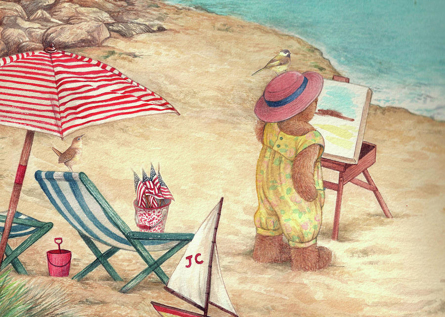Whimsical Bear on the Beach by Judith Cheng