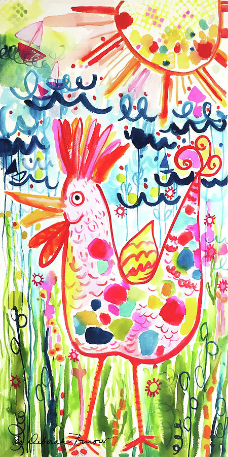 Chicken Painting - Whimsical Chicken by Deborah Burow