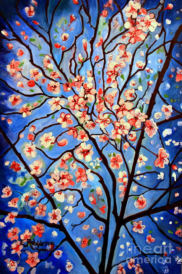 Cherry Blossoms Painting - Whimsical by Elizabeth Robinette Tyndall