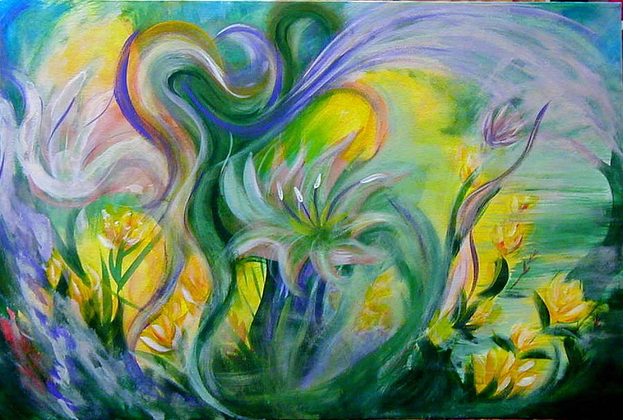 Floral Painting - Whimsical Garden 1 by Diana Dearen