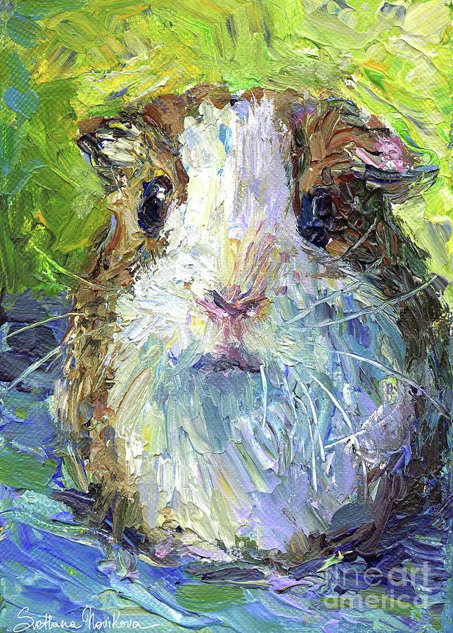 Rodent Prints Painting - Whimsical Guinea Pig Painting Print by Svetlana Novikova