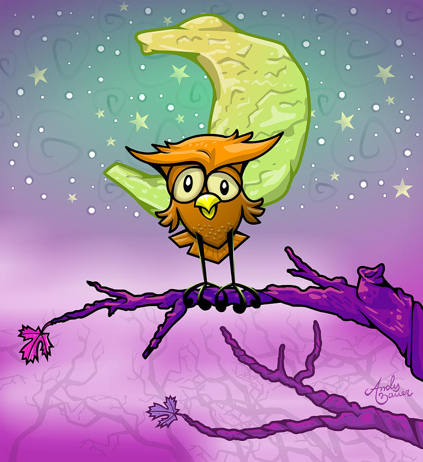 Owl Digital Art - Whimsical Night Owl by Andy Bauer