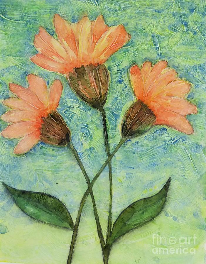 Orange Flowers Painting - Whimsical Orange Flowers - by Helen Campbell