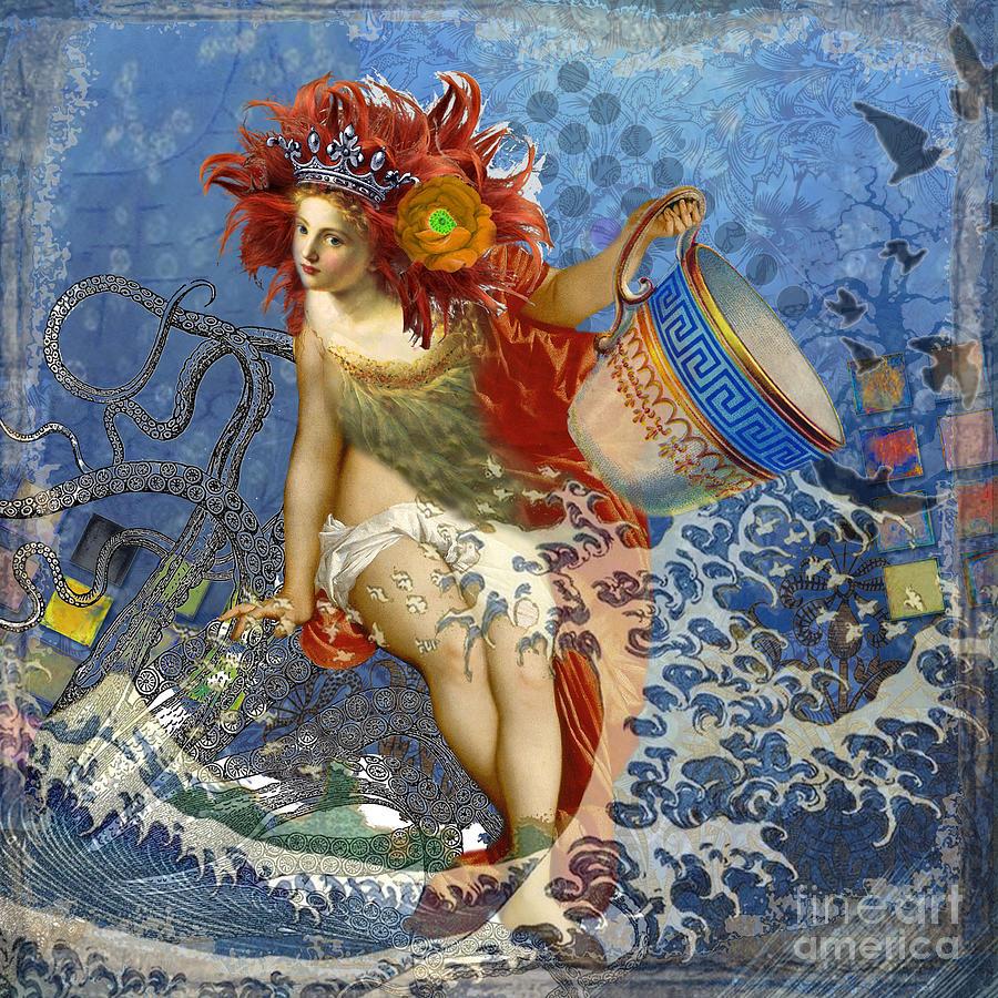 Mermaid Aquarius Vintage Whimsical Gothic Funny Digital Art By Mary