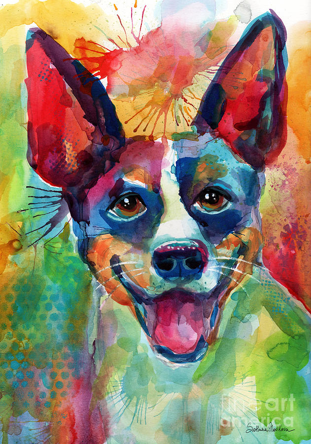 Whimsical Rat Terrier Dog painting by Svetlana Novikova