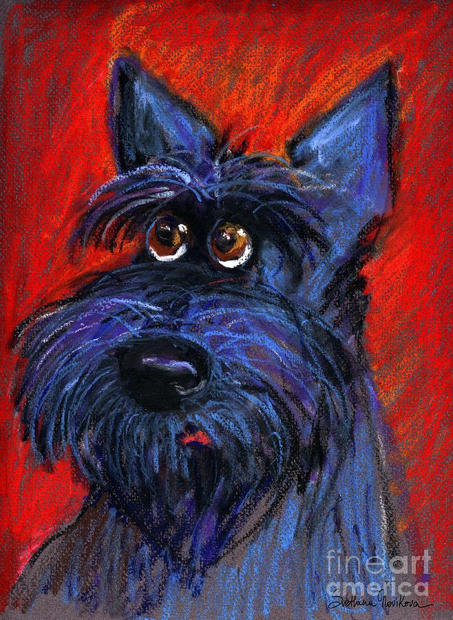 Svetlana Novikova Painting - whimsical Schnauzer dog painting by Svetlana Novikova