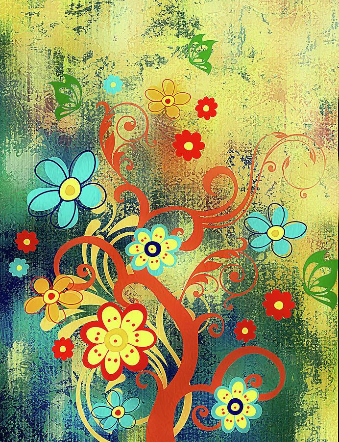 Wall Hanging Mixed Media - Whimsical Tree Of Happiness by Georgiana Romanovna